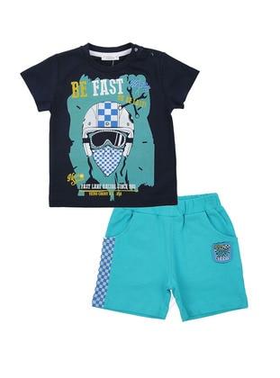 Multi - Crew neck - Cotton - Navy Blue - Boys` Suit