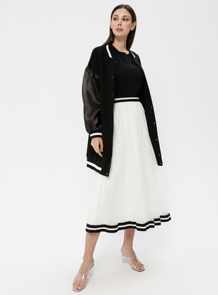 Black - White - Ecru - Fully Lined - Skirt