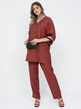 Maroon - V neck Collar - Unlined - Viscose - Plus Size Suit