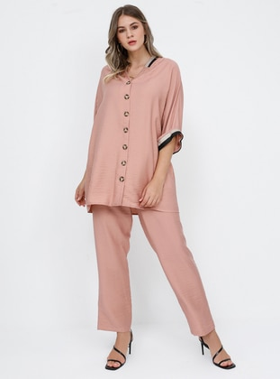 Dusty Rose - V neck Collar - Unlined - Viscose - Plus Size Suit
