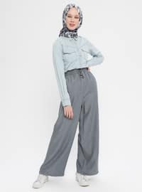 Gray - Cotton - Denim - Pants