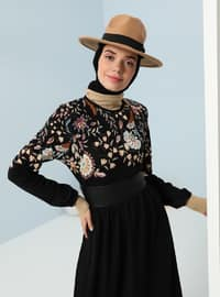 Black - Purple - Floral - Crew neck - Unlined - Dress