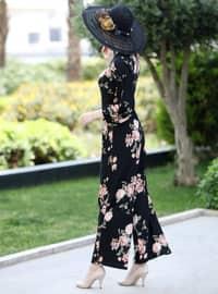 Siyah - Somon - Çiçekli - Astarsız kumaş - Yuvarlak yakalı - Tulum