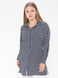 Navy Blue - Checkered - Point Collar - Tunic
