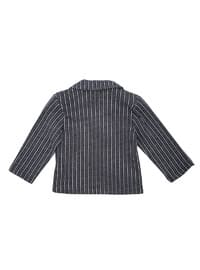 Stripe - Cotton - Navy Blue - Boys` Jacket