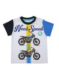 Multi - Crew neck - Cotton - White - Boys` T-Shirt