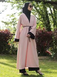 Black - Cream - Unlined - Abaya