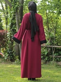 Black - Maroon - Unlined - V neck Collar - Abaya