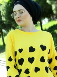 Yellow - Multi - Crew neck - Cotton - Acrylic - Tunic
