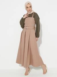 Bej - Astarsız Kumaş - Pamuk - Elbise