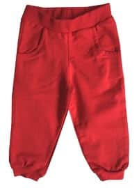 Cotton - Unlined - Red - Girls` Pants