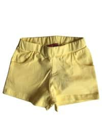 Cotton - Unlined - Yellow - Girls` Shorts