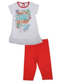 Multi - Cotton - Red - Girls` Suit
