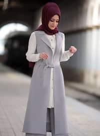 Gray - Unlined - Crepe - Suit