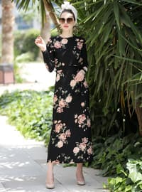 Black - Beige - Floral - Crew neck - Unlined - Dress