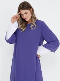 White - Ecru - Lilac - Fully Lined - Crew neck - Muslim Plus Size Evening Dress
