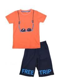 Multi - Crew neck - Cotton - Orange - Boys` Suit