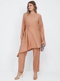 Camel - Crew neck - Unlined - Viscose - Plus Size Suit