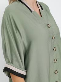 Khaki - V neck Collar - Unlined - Viscose - Plus Size Suit
