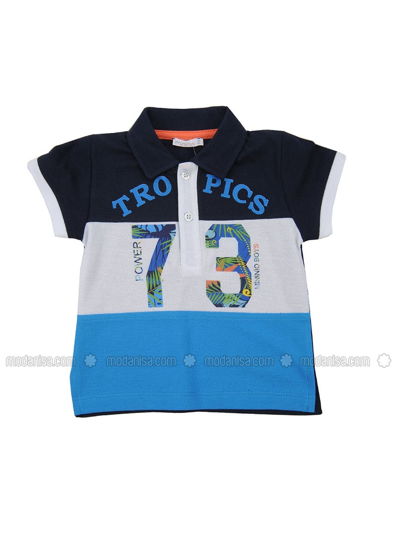 Multi - Point Collar - Cotton - Navy Blue - Baby Body