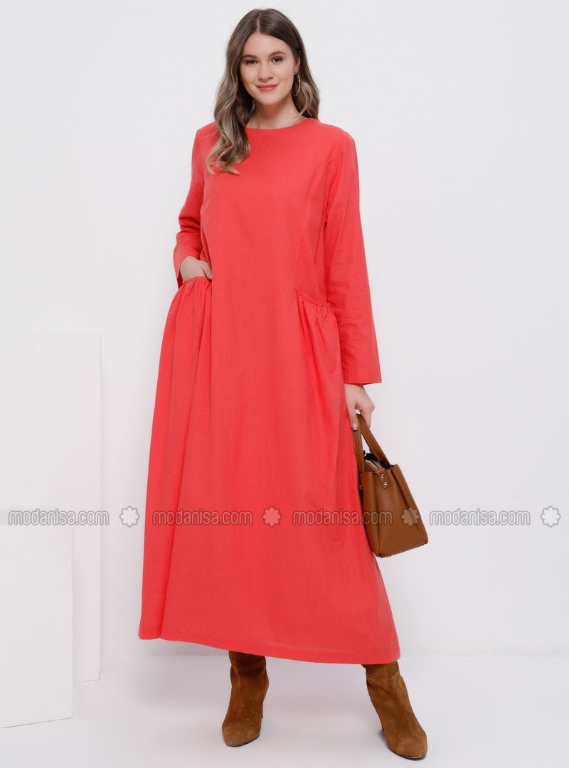 Coral - Coral - Fully Lined - Crew neck - Cotton - Plus Size Dress