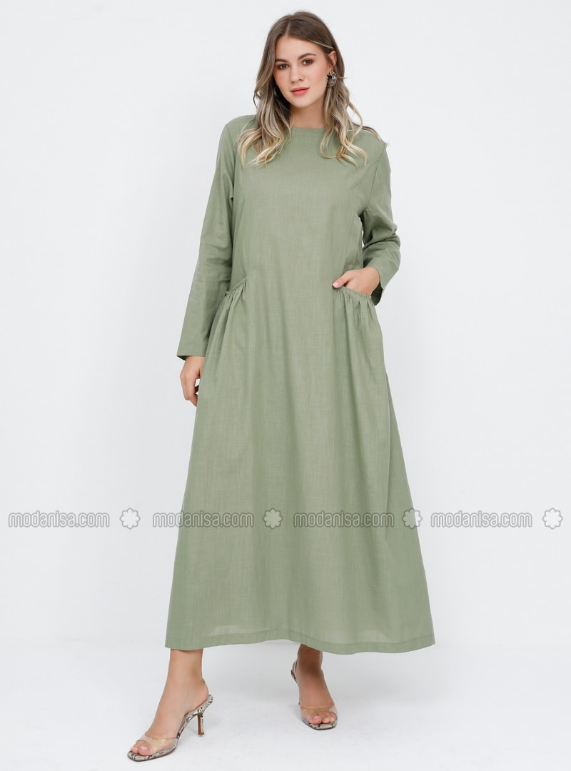 Khaki - Fully Lined - Crew neck - Cotton - Plus Size Dress