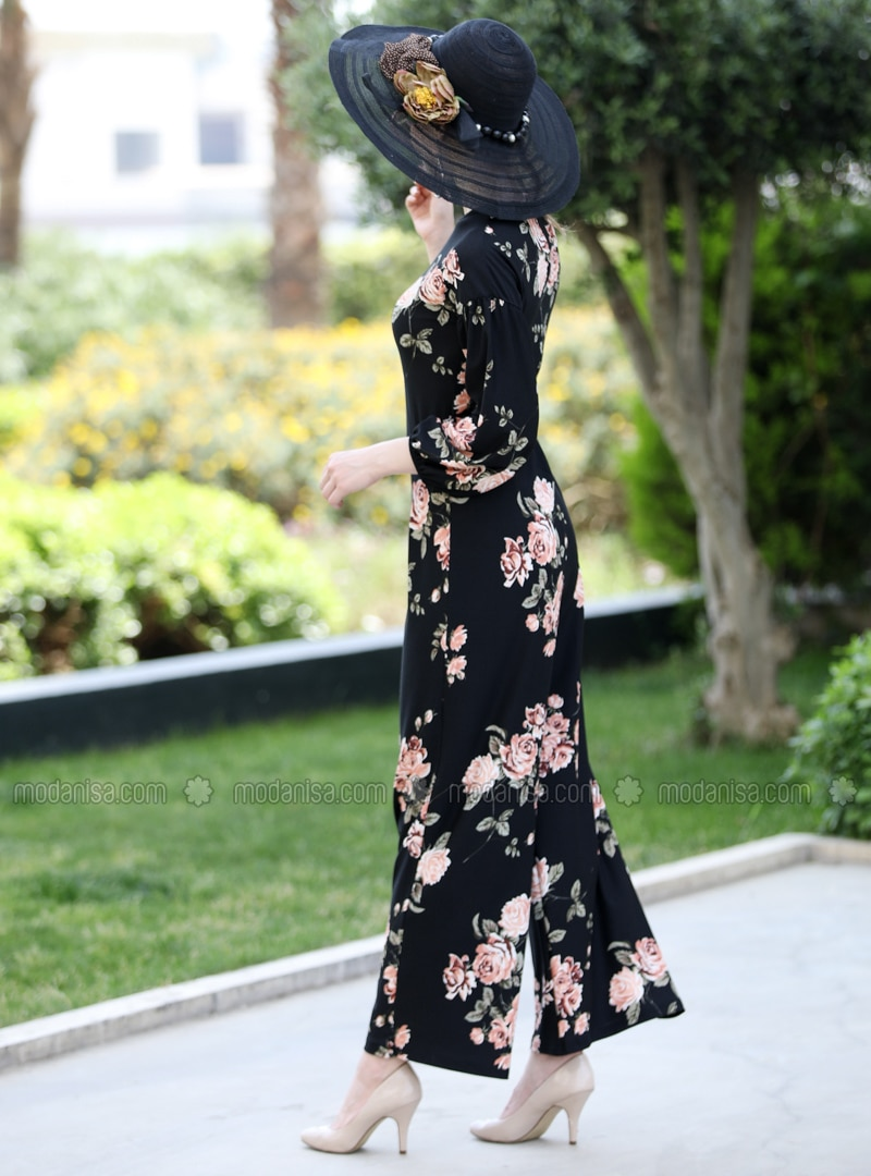 Black - Salmon - Floral - Unlined - Crew neck - Jumpsuit