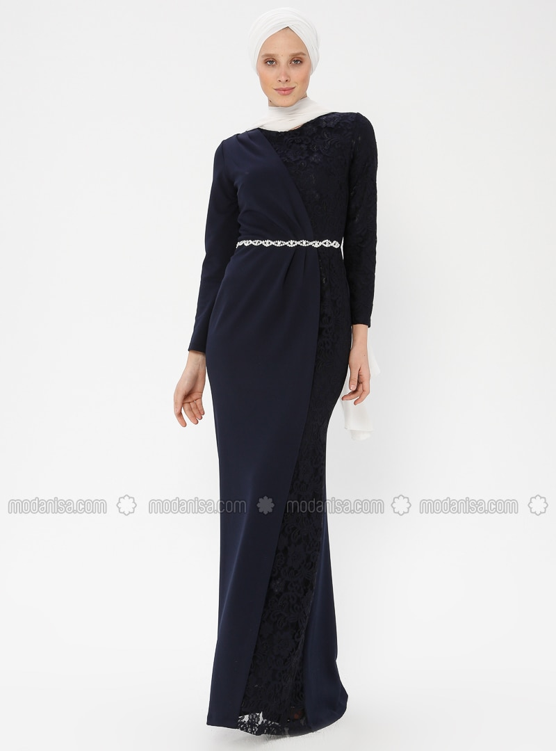 Navy Blue - Fully Lined - Crew neck - Muslim Evening Dress