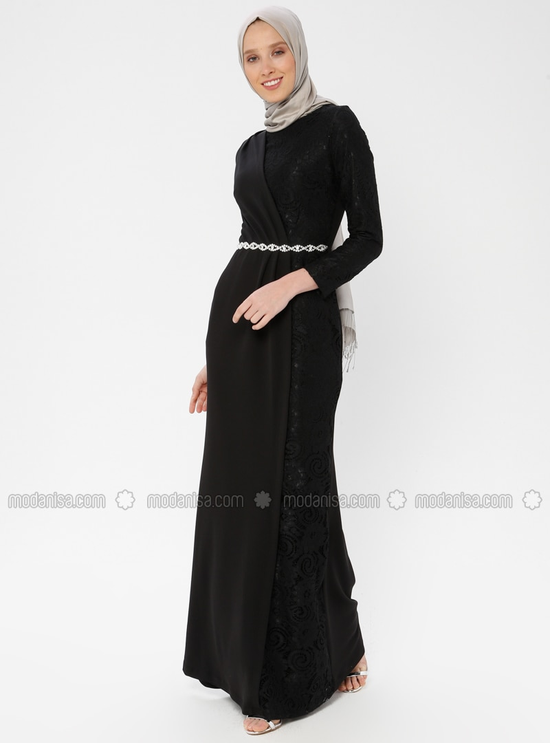 800ac696d308 Black - Fully Lined - Crew neck - Muslim Evening Dress