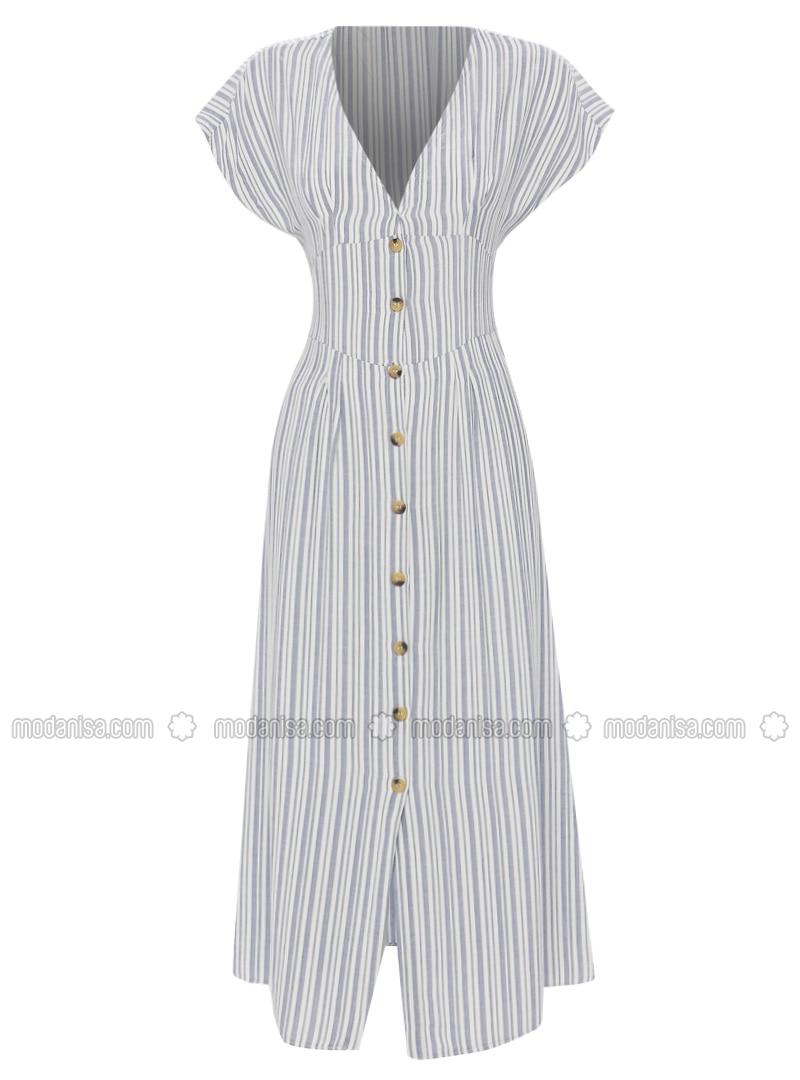 Blue - Navy Blue - Stripe - V neck Collar - Unlined - Viscose - Dress
