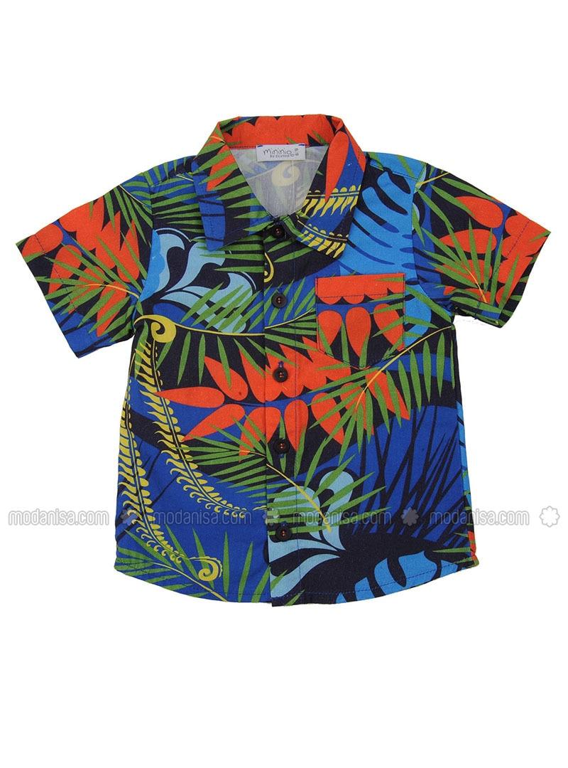 Multi - Point Collar - Cotton - Blue - Boys` Shirt