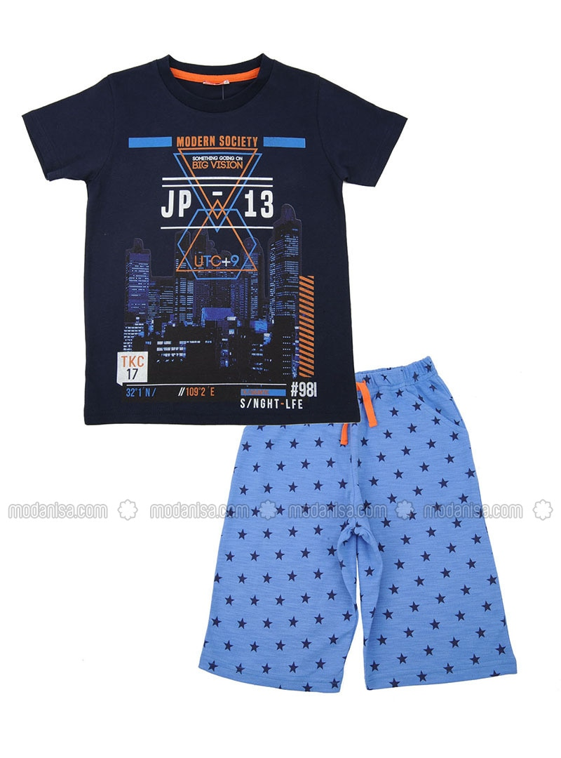 Multi - Crew neck - Cotton - Navy Blue - Boys` Suit