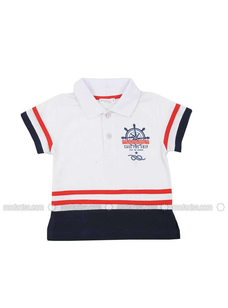 Multi - Point Collar - Cotton - White - Boys` T-Shirt