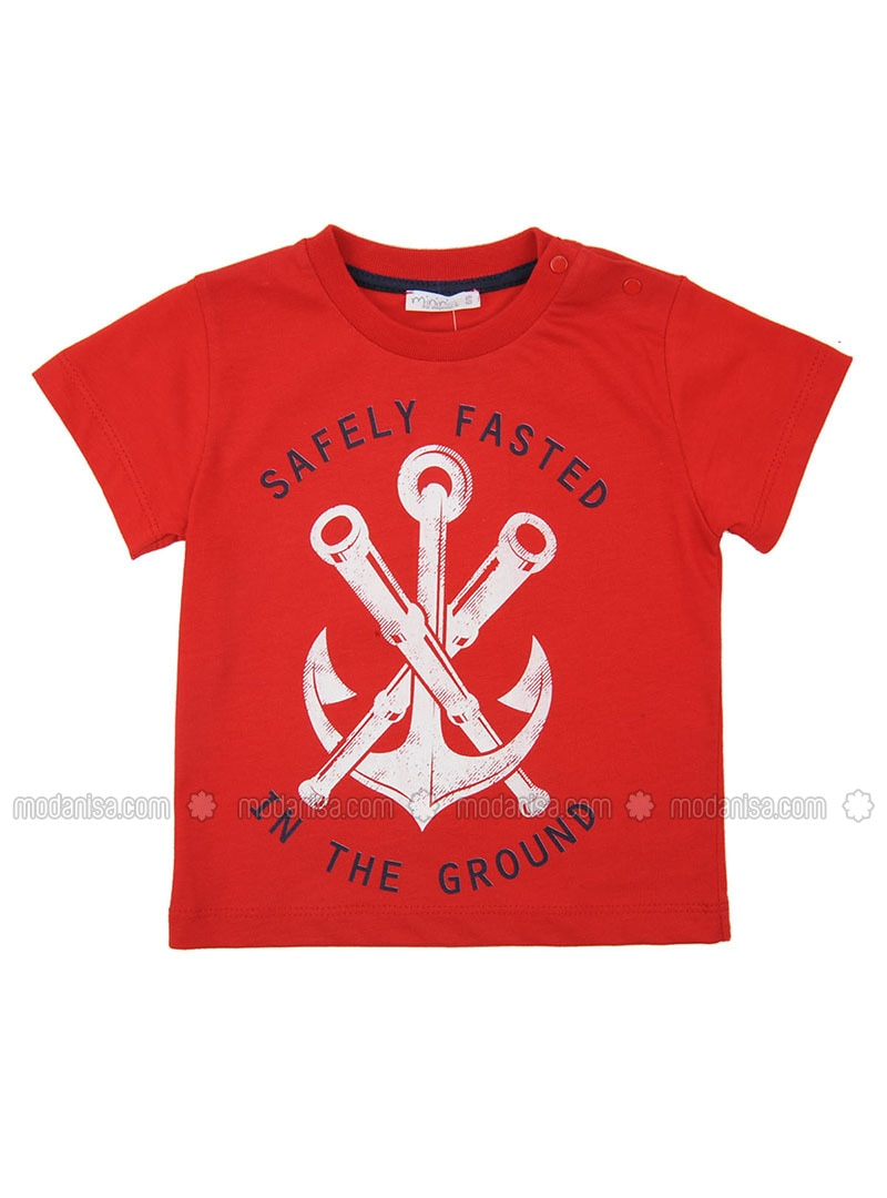 Multi - Crew neck - Cotton - Red - Boys` T-Shirt