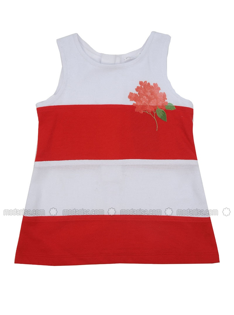 Multi - Crew neck - Cotton - Red - Girls` Dress