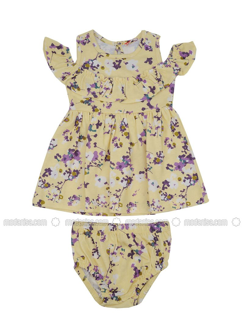 Multi - Crew neck - Cotton - Yellow - Girls` Dress
