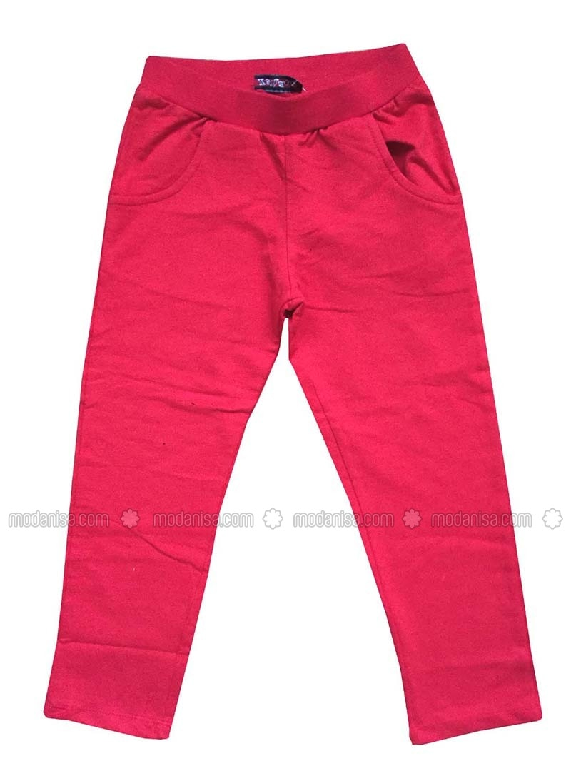 Cotton - Red - Girls` Pants