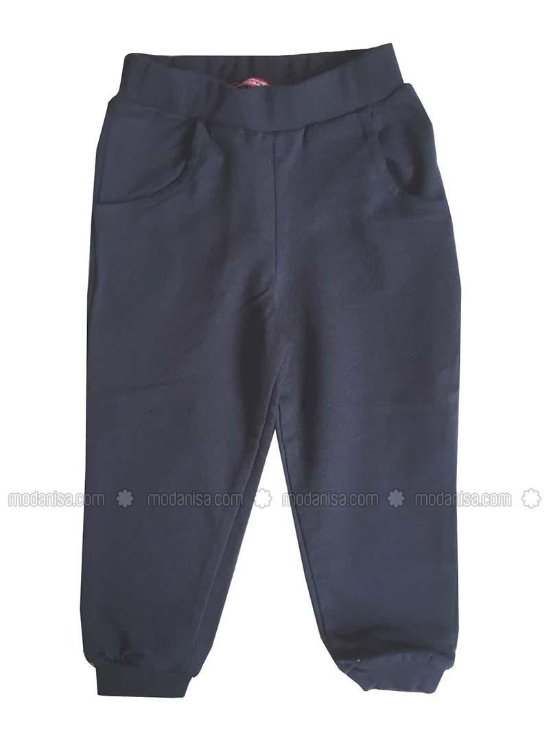 Cotton - Unlined - Navy Blue - Girls` Pants