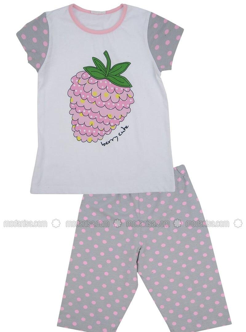 Multi - Crew neck - Cotton - Gray - Girls` Pyjamas
