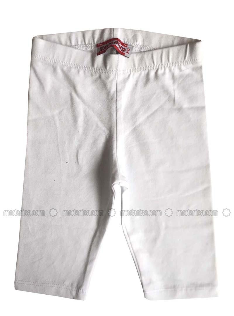 Cotton - Unlined - White - Girls` Leggings