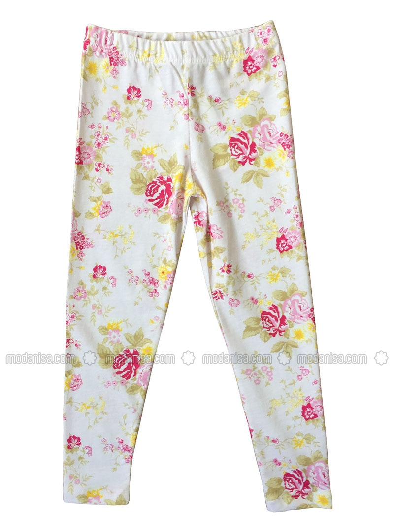 Multi Cotton White Girls Leggings