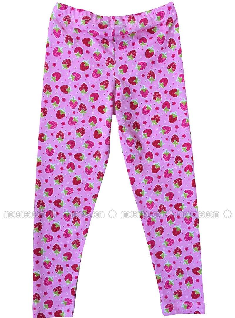 Multi - Cotton - Pink - Girls` Leggings