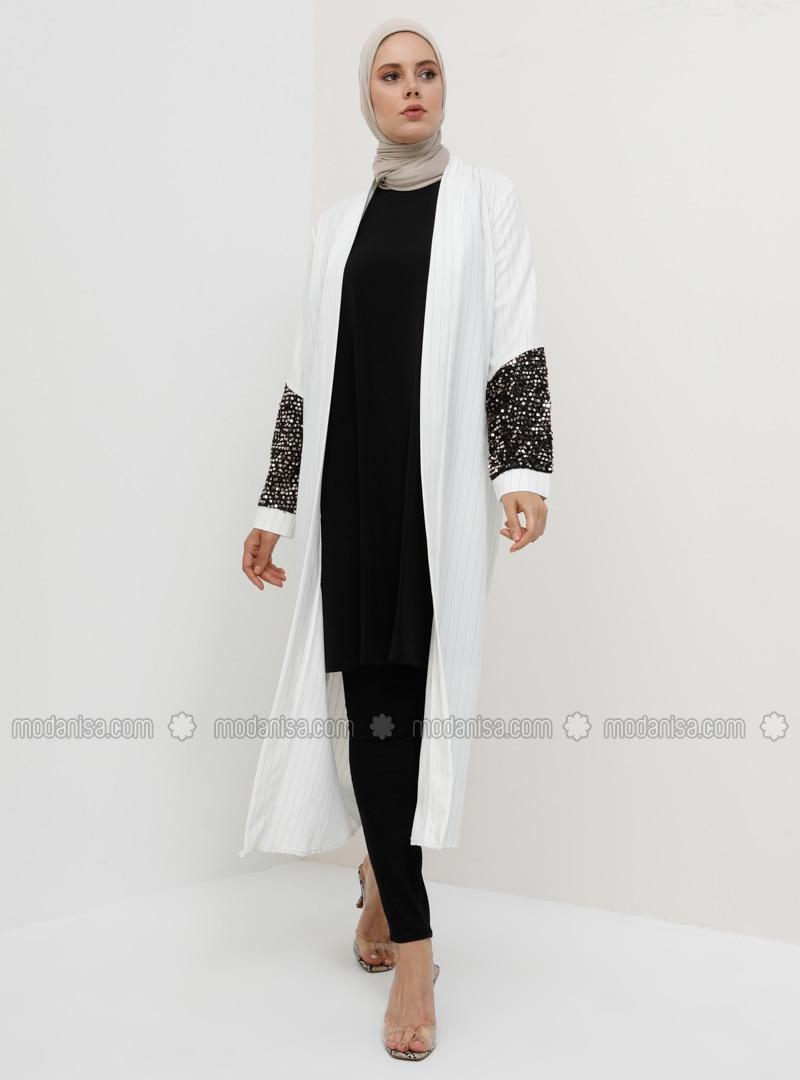 White - Ecru - Stripe - Unlined - Topcoat