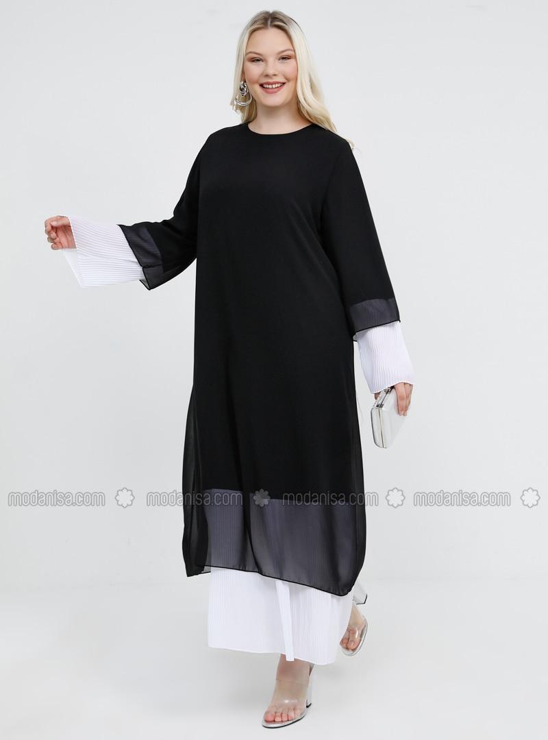 Black - White - Ecru - Fully Lined - Crew neck - Muslim Plus Size ...