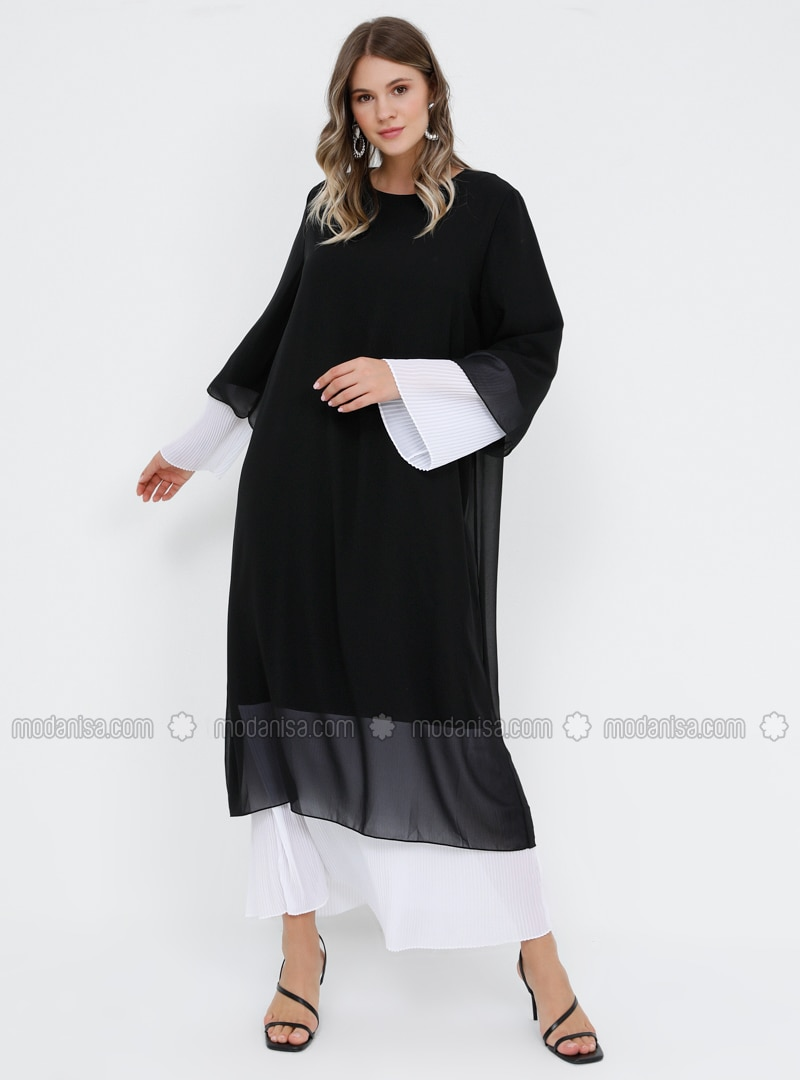 Black - White - Ecru - Fully Lined - Crew neck - Muslim Plus Size Evening  Dress