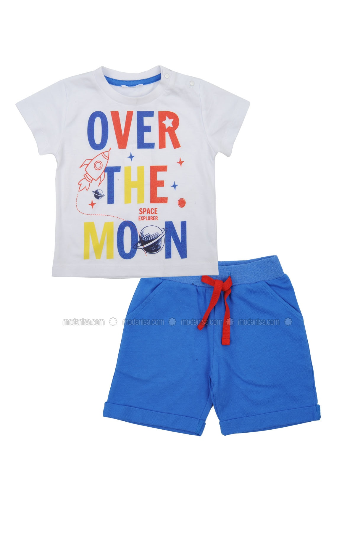 Multi - Crew neck - Cotton - Blue - Boys` Suit