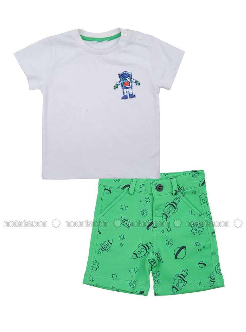 Multi - Crew neck - Cotton - Green - Baby Suit