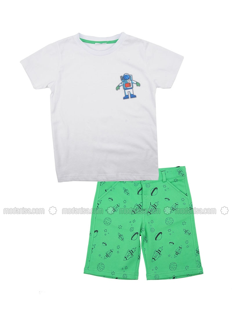 Multi - Crew neck - Cotton - Green - Boys` Suit
