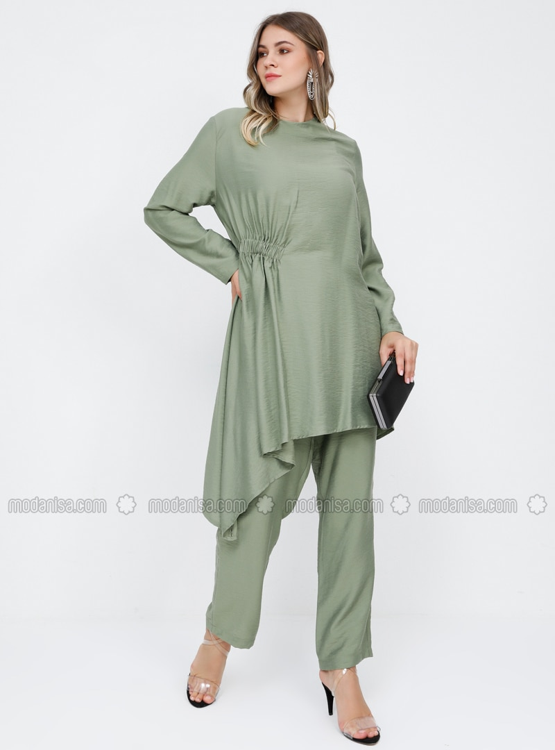 Khaki - Crew neck - Unlined - Viscose - Plus Size Suit