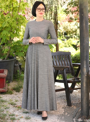 Black - Anthracite - Crew neck - Unlined - Cotton - Dress